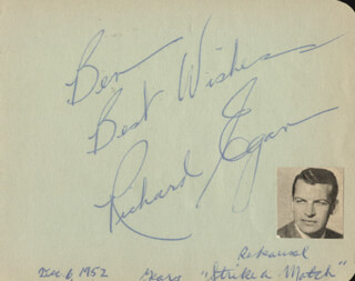 Autographs: RICHARD EGAN - AUTOGRAPH NOTE SIGNED CIRCA 1952