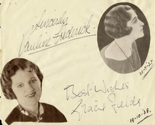 GRACIE FIELDS - AUTOGRAPH CO-SIGNED BY: PAULINE FREDERICK ROBBINS