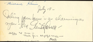 GLENDA FARRELL - AUTOGRAPH NOTE SIGNED 7/15 CO-SIGNED BY: MICHAEL KANIN, TOMMY WONDER, DON DELLAIR, HONOR MC GRATH, BARONESS GRAFFENRIED-VILLARS
