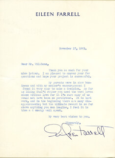 EILEEN FARRELL - TYPED LETTER SIGNED 11/17/1961