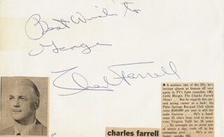 CHARLES FARRELL - AUTOGRAPH NOTE SIGNED