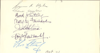 DOUGLAS FAIRBANKS JR. - AUTOGRAPH CO-SIGNED BY: MARY LEE FAIRBANKS, ANNA BETH (MRS. DOUGLAS) FAIRBANKS, JACK WHITING, SEYMOUR B. WYLER, FELICE (MARGULIES) WYLER, MAURICE LAPUE, DOLORES LAPUE