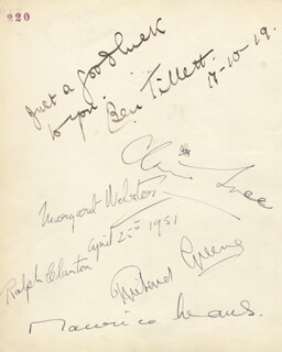 MAURICE EVANS - AUTOGRAPH CO-SIGNED BY: RICHARD GREENE, MARGARET WEBSTER, CLAIRE LUCE