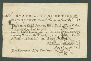 CONNECTICUT REVOLUTIONARY WAR - PROMISSORY NOTE SIGNED 12/26/1781 CO-SIGNED BY: WILLIAM MOSELEY, HEZEKIAH ROGERS - HFSID 1962