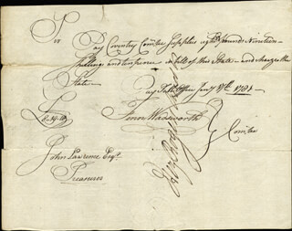 FENN WADSWORTH - MANUSCRIPT DOCUMENT SIGNED 01/17/1781 CO-SIGNED BY: HEZEKIAH ROGERS