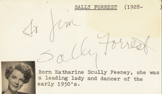 SALLY FORREST - INSCRIBED SIGNATURE