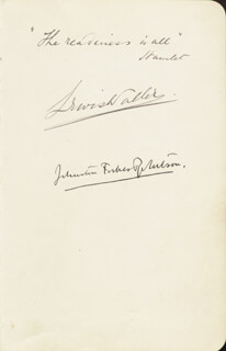JOHNSTON FORBES-ROBERTSON - AUTOGRAPH QUOTATION SIGNED CO-SIGNED BY: LEWIS WALLER