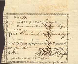 Autographs: OLIVER WOLCOTT JR. - PROMISSORY NOTE SIGNED 08/26/1788 CO-SIGNED BY: DANIEL SKINNER JR.