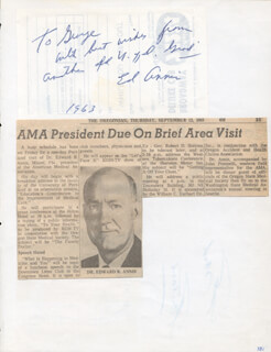 Autographs: FRANK FONTAINE - AUTOGRAPH NOTE SIGNED 1963 CO-SIGNED BY: EDWARD ANNIS