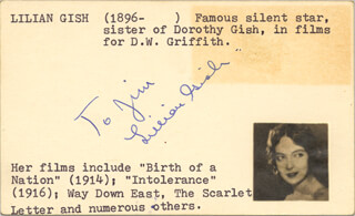 LILLIAN GISH - INSCRIBED SIGNATURE