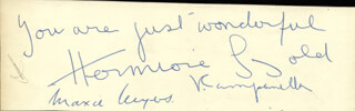HERMIONE GINGOLD - AUTOGRAPH NOTE SIGNED CO-SIGNED BY: JOSEPH SUNLIGHT, EDITH FORSHAW SUNLIGHT