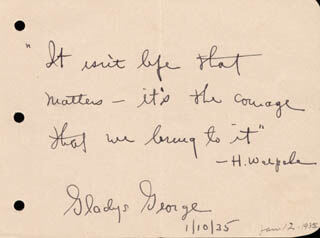 GLADYS GEORGE - AUTOGRAPH QUOTATION SIGNED 01/10/1935