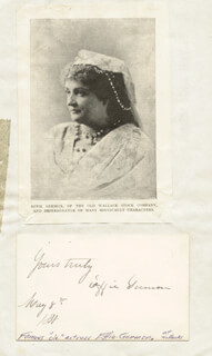 EUPHEMIA EFFIE GERMON - AUTOGRAPH SENTIMENT SIGNED 05/08/1888