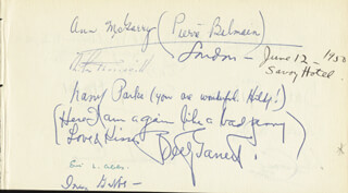 BETTY GARRETT - AUTOGRAPH NOTE SIGNED 06/12/1950 CO-SIGNED BY: PIERRE BALMAIN, LARRY PARKS