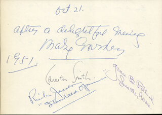 MARY GARDEN - AUTOGRAPH SENTIMENT SIGNED 1951 CO-SIGNED BY: REVEREND ALBERT A. DURANT, CARLETON SMITH