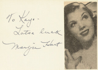 MARGIE HART - AUTOGRAPH NOTE SIGNED