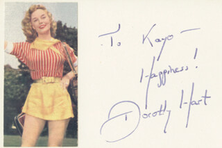 DOROTHY HART - AUTOGRAPH NOTE SIGNED