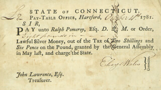 Autographs: CONNECTICUT REVOLUTIONARY WAR - PROMISSORY NOTE SIGNED 10/04/1781 CO-SIGNED BY: RALPH POMEROY, ELEAZER WALES, GENERAL JEDIDIAH HUNTINGTON