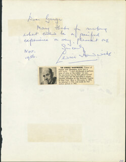 SIR CEDRIC HARDWICKE - AUTOGRAPH LETTER SIGNED 11/1956