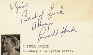 RUSSELL HARDIE - AUTOGRAPH NOTE SIGNED