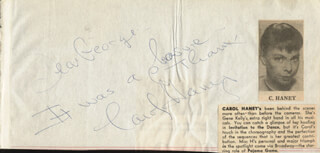 CAROL HANEY - AUTOGRAPH NOTE SIGNED