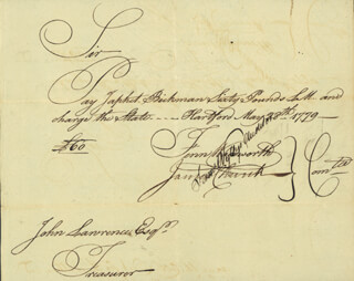 FENN WADSWORTH - MANUSCRIPT DOCUMENT SIGNED 05/28/1779 CO-SIGNED BY: SAMUEL WYLLYS, JAMES CHURCH