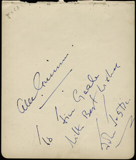 SIR ALEC GUINNESS - AUTOGRAPH NOTE SIGNED CO-SIGNED BY: JOHN JUSTIN