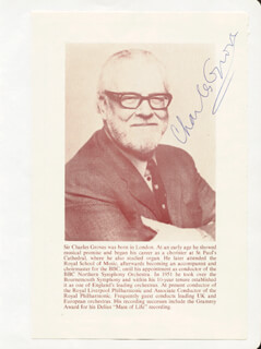 SIR CHARLES BARNARD GROVES - BOOK PHOTOGRAPH SIGNED