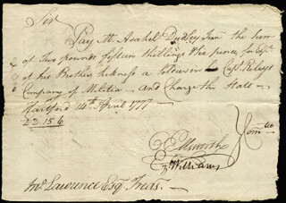 CHIEF JUSTICE OLIVER ELLSWORTH - MANUSCRIPT DOCUMENT SIGNED 04/14/1777 CO-SIGNED BY: EZEKIEL WILLIAMS, ASAHEL DUDLEY JR.
