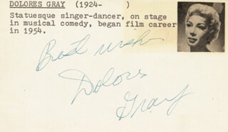 DOLORES GRAY - AUTOGRAPH SENTIMENT SIGNED