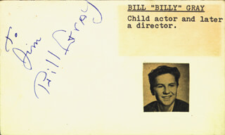 BILLY GRAY - INSCRIBED SIGNATURE