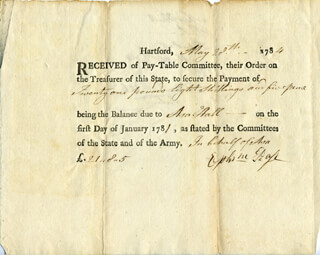 Autographs: EPHRAIM PAGE - DOCUMENT DOUBLE SIGNED 04/03/1782 CO-SIGNED BY: ASA HALL, SIMEON PEASE