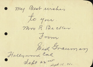 SID GRAUMAN - AUTOGRAPH NOTE SIGNED CIRCA 1934
