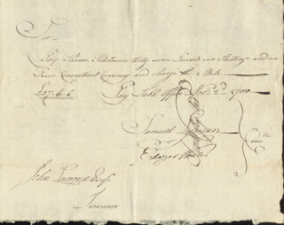 SAMUEL LYMAN - MANUSCRIPT DOCUMENT SIGNED 11/02/1780 CO-SIGNED BY: ELEAZER WALES