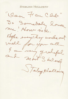 STERLING HOLLOWAY - AUTOGRAPH LETTER SIGNED