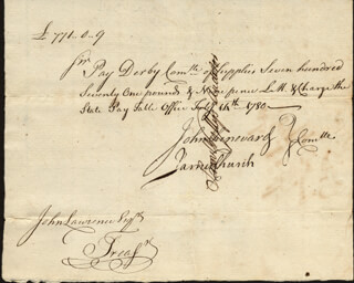 Autographs: JAMES CHURCH - MANUSCRIPT DOCUMENT SIGNED 02/14/1780 CO-SIGNED BY: JOHN CHENWARD, SAMUEL WYLLYS