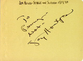 JOY HODGES - AUTOGRAPH NOTE SIGNED 05/08/1938