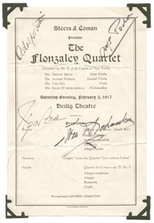 FLONZALEY QUARTET, THE - PROGRAM SIGNED CIRCA 1917 CO-SIGNED BY: FLONZALEY QUARTET (ALFRED POCHON), FLONZALEY QUARTET (ADOLFO BETTI), FLONZALEY QUARTET (UGO ARA), FLONZALEY QUARTET (IWAN D'ARCHAMBEAU)