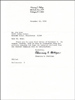 REV. CHANNING E. PHILLIPS - TYPED LETTER SIGNED 11/12/1970