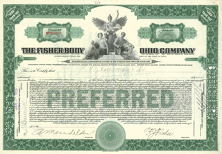 Autographs: FREDERIC J. FISHER - STOCK CERTIFICATE SIGNED 01/02/1924