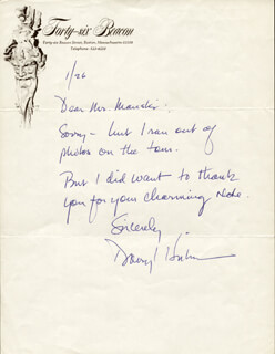 DARRYL HICKMAN - AUTOGRAPH NOTE SIGNED 1/26