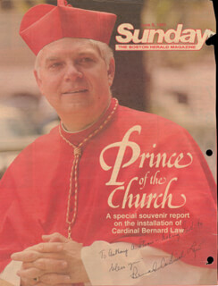 Autographs: BERNARD CARDINAL LAW - INSCRIBED MAGAZINE COVER SIGNED