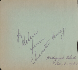 CHARLOTTE HENRY - AUTOGRAPH 12/09/1934 CO-SIGNED BY: MARIAN NIXON