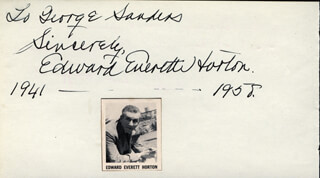 EDWARD EVERETT HORTON - AUTOGRAPH NOTE SIGNED 1958