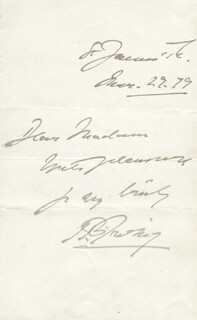 SIR HENRY IRVING - AUTOGRAPH NOTE SIGNED 03/29/1879