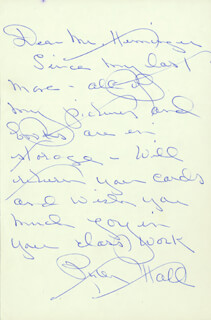 RUTH HALL - AUTOGRAPH LETTER SIGNED
