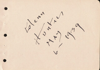 GLENN HUNTER - AUTOGRAPH 05/06/1939