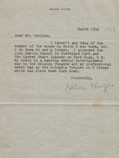 HELEN HAYES - TYPED LETTER SIGNED 03/15/1963