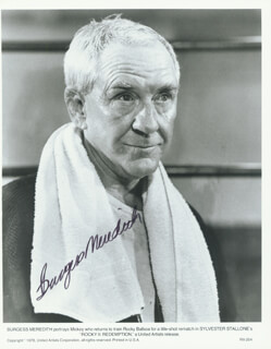BURGESS MEREDITH - AUTOGRAPHED SIGNED PHOTOGRAPH 1984