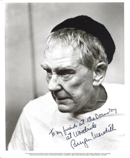 BURGESS MEREDITH - AUTOGRAPHED INSCRIBED PHOTOGRAPH 1984